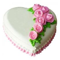 Pineapple Rose Heart Shape Cake