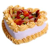 Fresh Fruit Heart Shape Cake